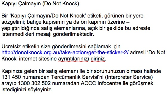Do Not knock Information in Turkish