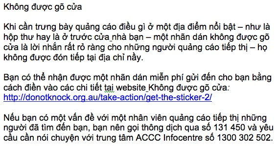 Do Not Knock informaion in Vietnamese